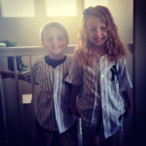 Great-Great Grands Corbin and Peyton also rock Yankee pinstripes.