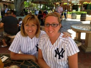 Mary and daughter Amy in pinstripes.